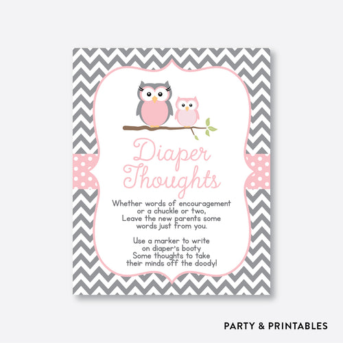 Owl Diaper Thoughts / Non-Personalized / Instant Download (SBS.44)