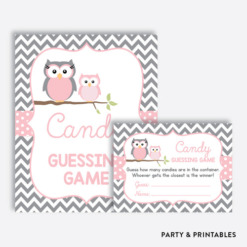 Owl Guess How Many Candies / Non-Personalized / Instant Download (SBS.44)