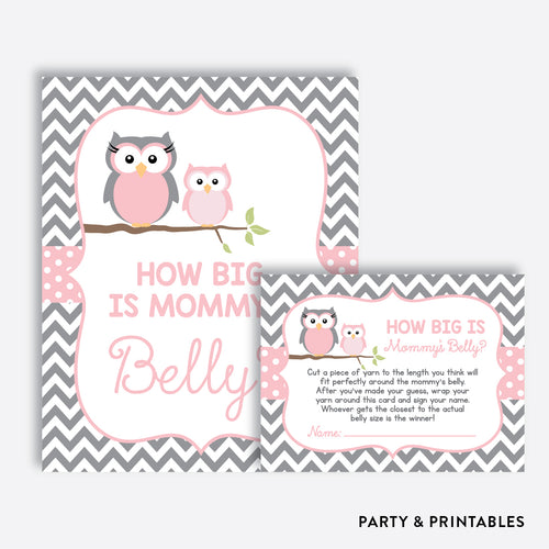 Owl How Big is Mommy's Belly / Non-Personalized / Instant Download (SBS.44)