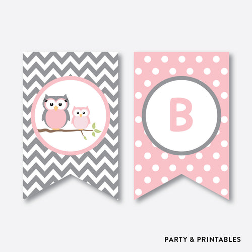Owl Party Banner / Baby Shower Banner / Non-Personalized / Instant Download (SBS.44)