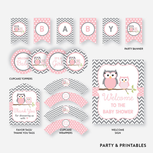 Owl Standard Baby Shower Party Package / Non-Personalized / Instant Download (SBS.44)