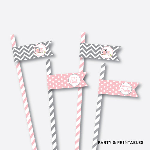 Owl Straw Flags / Non-Personalized / Instant Download (SBS.44)