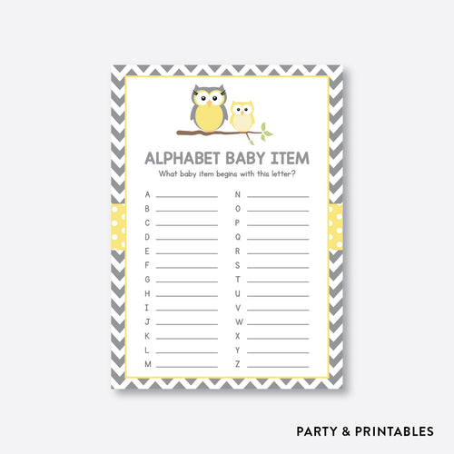 Owl Alphabet Baby Item / Non-Personalized / Instant Download (SBS.45)