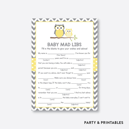 Owl Mad Libs / Non-Personalized / Instant Download (SBS.45)
