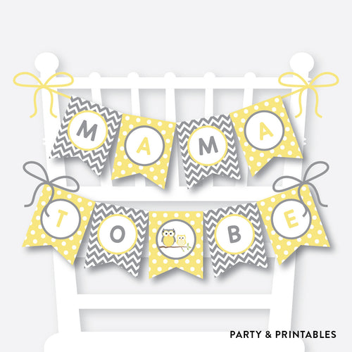 Yellow Owl Chair Banner / Baby Shower Banner / Non-Personalized / Instant Download (SBS.45)