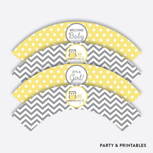 Owl Cupcake Wrappers / Non-Personalized / Instant Download (SBS.45)