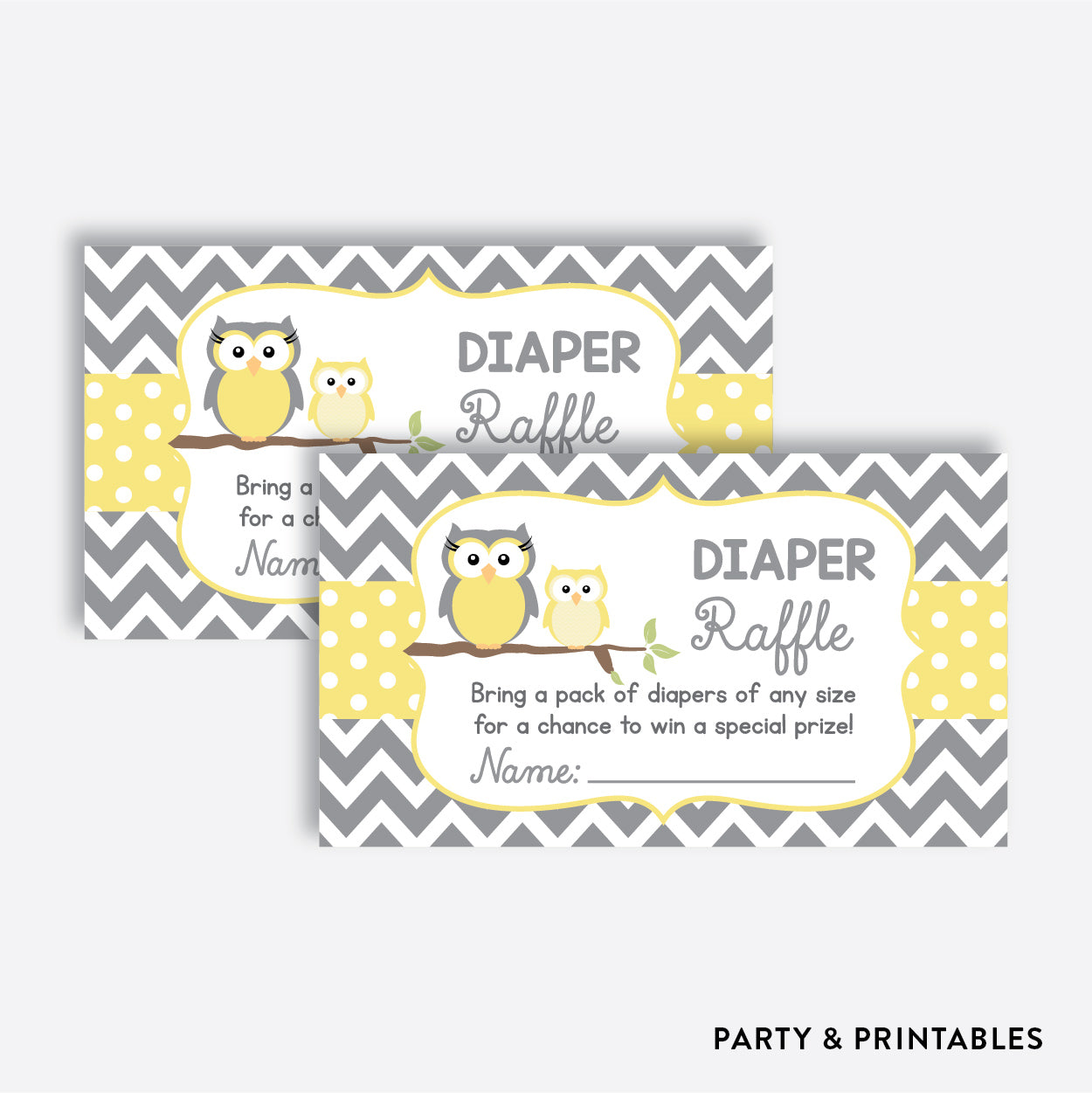 Owl Diaper Raffle / Non-Personalized / Instant Download (SBS.45)