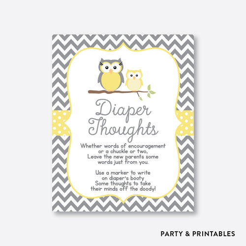 Owl Diaper Thoughts / Non-Personalized / Instant Download (SBS.45)