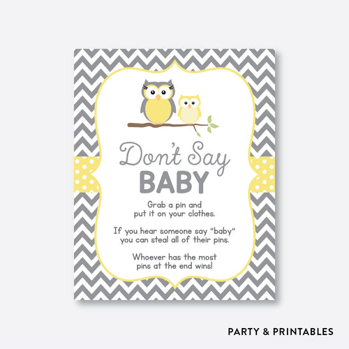 Owl Don't Say Baby / Non-Personalized / Instant Download (SBS.45)