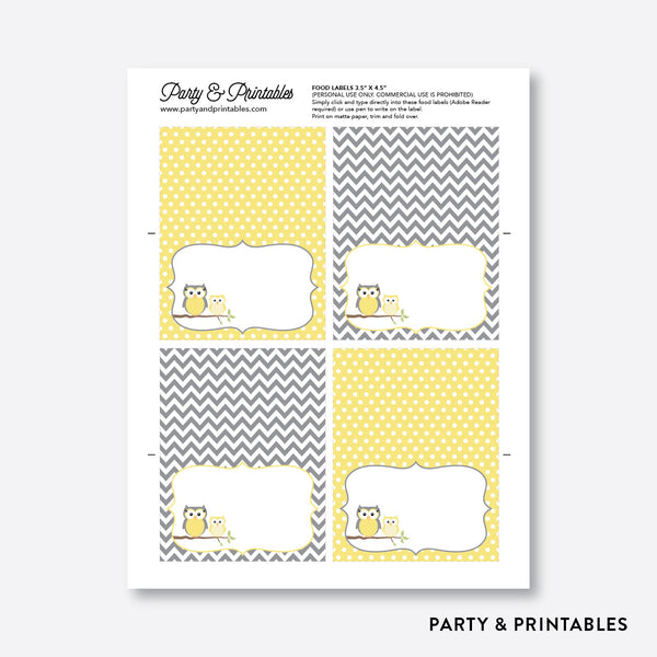 Owl Food Labels / Editable / Instant Download (SBS.45), party printables - Party and Printables