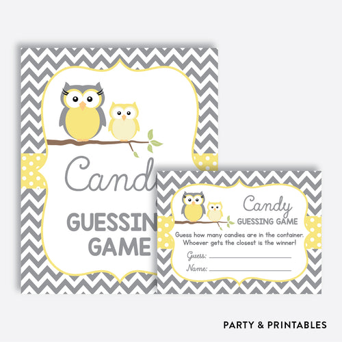 Owl Guess How Many Candies / Non-Personalized / Instant Download (SBS.45)