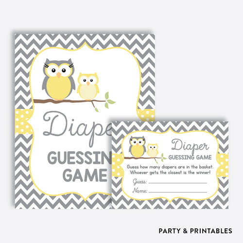 Owl Guess How Many Diapers / Non-Personalized / Instant Download (SBS.45)