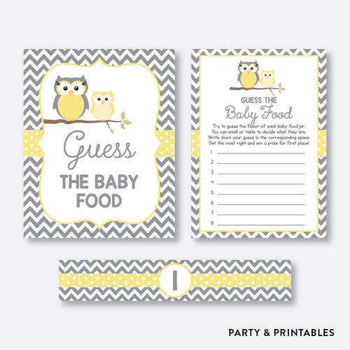 Owl Guess The Baby Food / Non-Personalized / Instant Download (SBS.45)