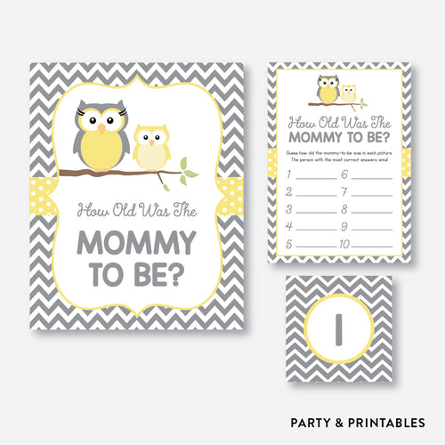 Owl How Old Was Mommy To Be / Non-Personalized / Instant Download (SBS.45)