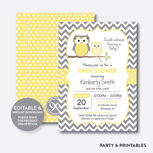Owl Baby Shower Invitation / Editable / Instant Download (SBS.45)
