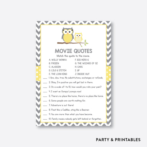 Owl Movie Quotes / Non-Personalized / Instant Download (SBS.45)