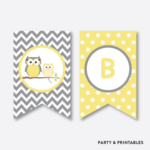 Owl Party Banner / Baby Shower Banner / Non-Personalized / Instant Download (SBS.45)