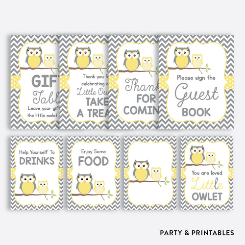 Owl Party Signs / Non-Personalized / Instant Download (SBS.45)