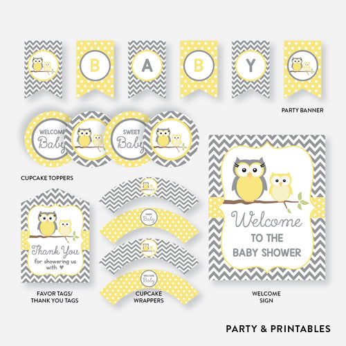 Owl Standard Baby Shower Party Package / Non-Personalized / Instant Download (SBS.45)