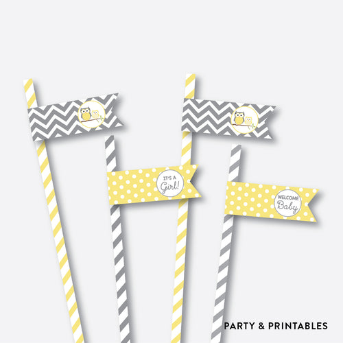 Owl Straw Flags / Non-Personalized / Instant Download (SBS.45)