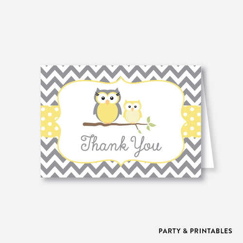 Owl Baby Shower Thank You / Non-Personalized / Instant Download (SBS.45)