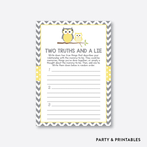 Owl Two Truths And A Lie / Non-Personalized / Instant Download (SBS.45)