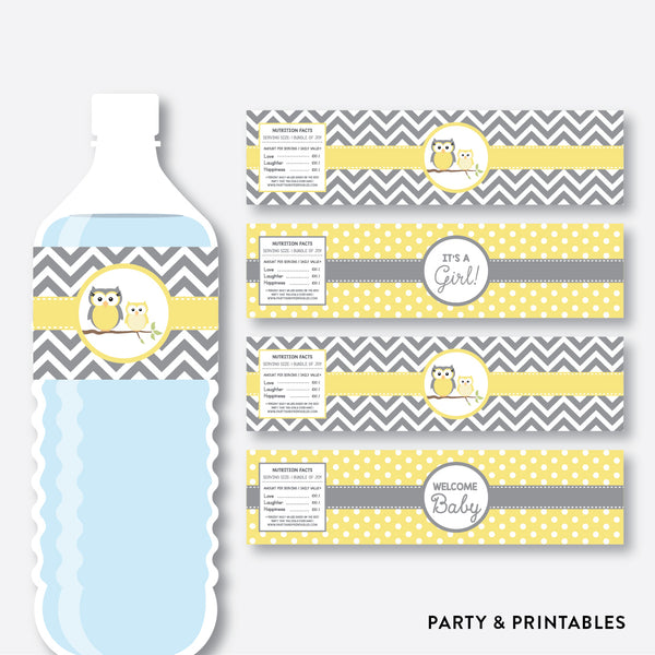 Owl Water Bottle Labels / Non-Personalized / Instant Download (SBS.45)