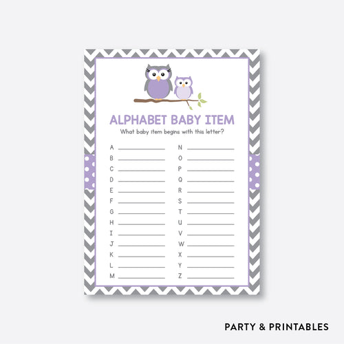 Owl Alphabet Baby Item / Non-Personalized / Instant Download (SBS.46)