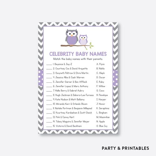 Owl Celebrity Baby Names / Non-Personalized / Instant Download (SBS.46)