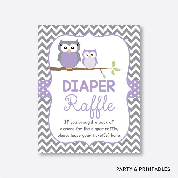 Owl Diaper Raffle / Non-Personalized / Instant Download (SBS.46)