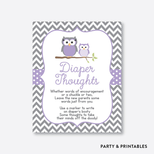 Owl Diaper Thoughts / Non-Personalized / Instant Download (SBS.46)