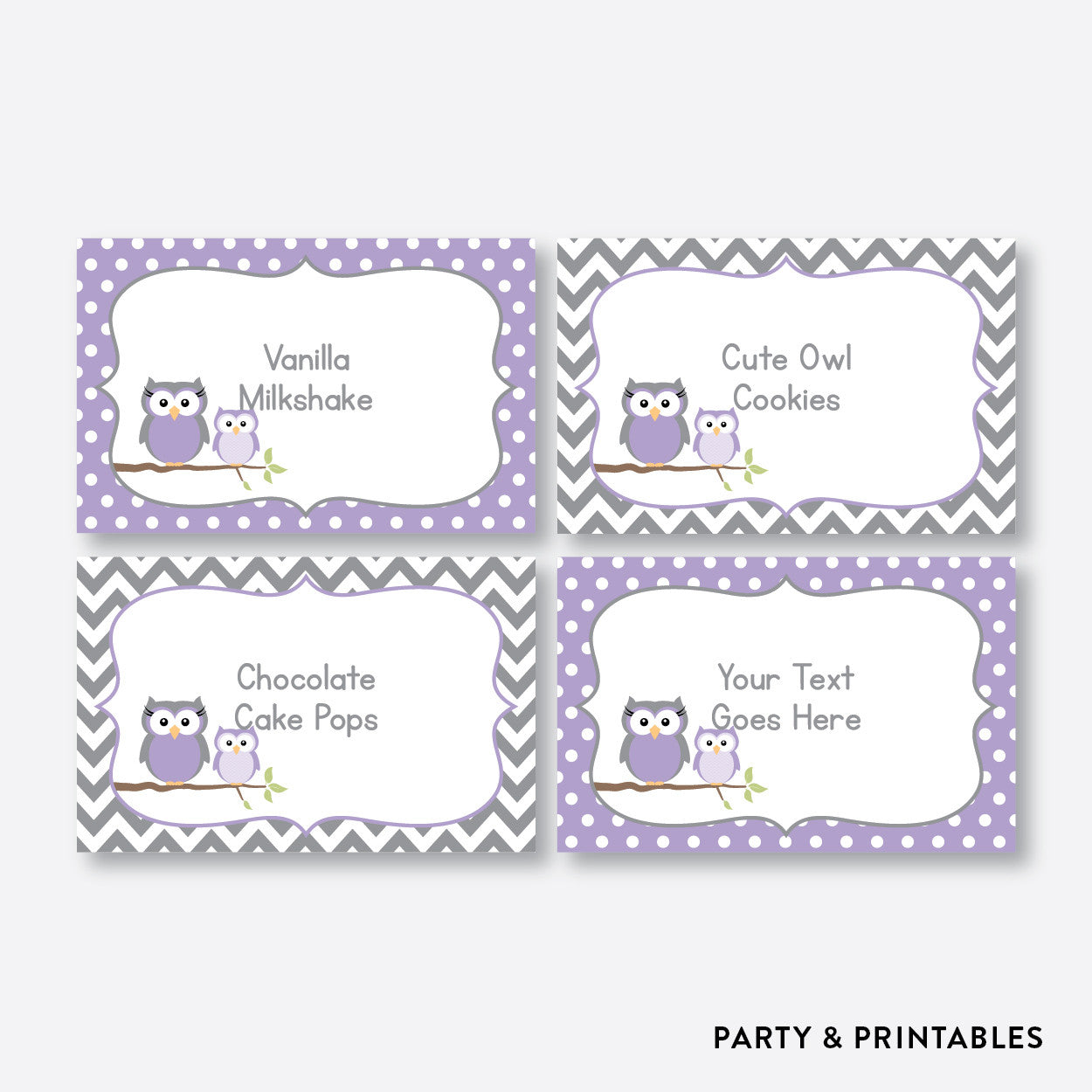 Owl Food Labels / Editable / Instant Download (SBS.46), party printables - Party and Printables