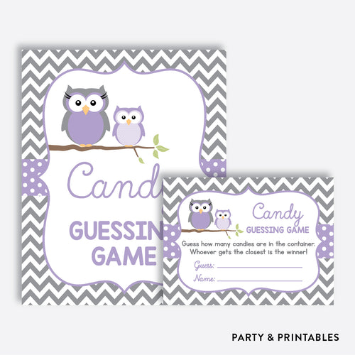 Owl Guess How Many Candies / Non-Personalized / Instant Download (SBS.46)