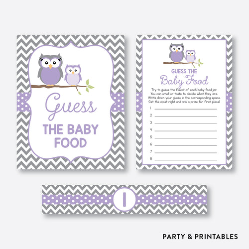 Owl Guess The Baby Food / Non-Personalized / Instant Download (SBS.46)