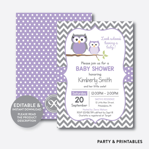 Owl Baby Shower Invitation / Editable / Instant Download (SBS.46)