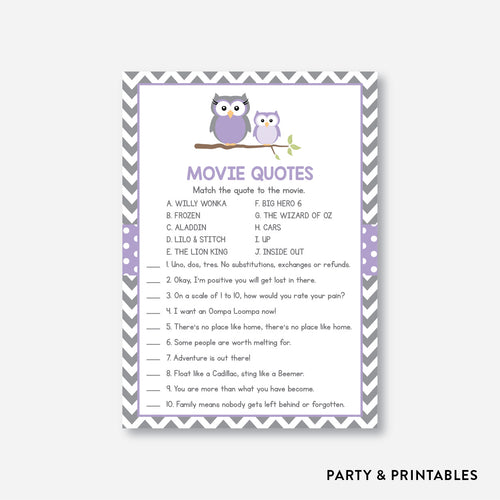 Owl Movie Quotes / Non-Personalized / Instant Download (SBS.46)