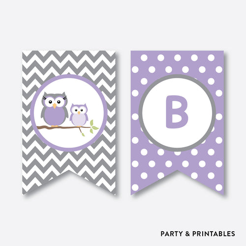 Owl Party Banner / Baby Shower Banner / Non-Personalized / Instant Download (SBS.46)