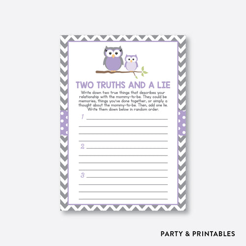 Owl Two Truths And A Lie / Non-Personalized / Instant Download (SBS.46)