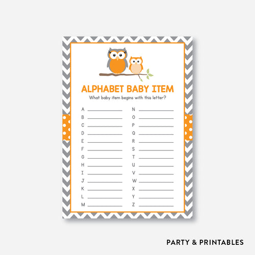 Owl Alphabet Baby Item / Non-Personalized / Instant Download (SBS.47)