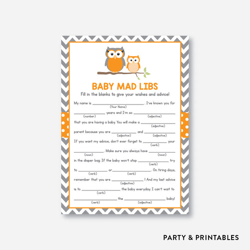 Owl Mad Libs / Non-Personalized / Instant Download (SBS.47)