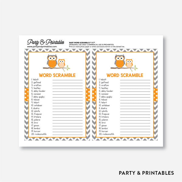 Owl Baby Word Scramble / Non-Personalized / Instant Download (SBS.47)