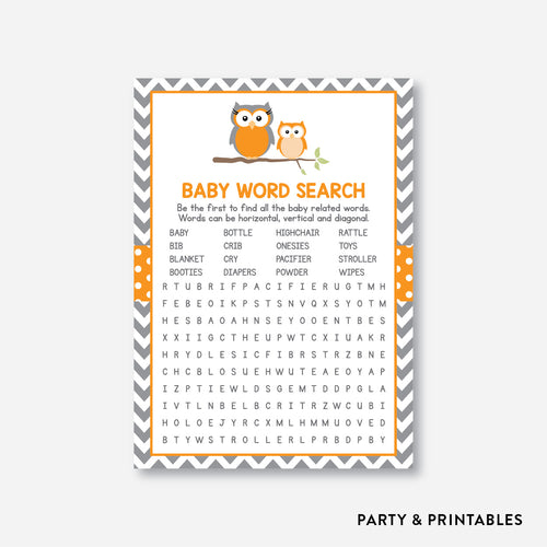 Owl Baby Word Search / Non-Personalized / Instant Download (SBS.47)