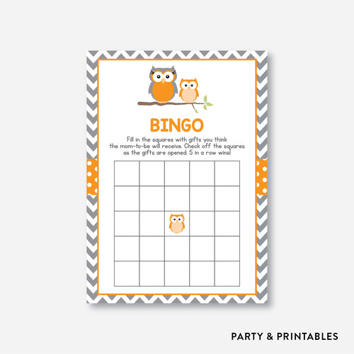 Owl Bingo / Non-Personalized / Instant Download (SBS.47)