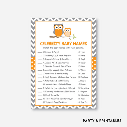 Owl Celebrity Baby Names / Non-Personalized / Instant Download (SBS.47)