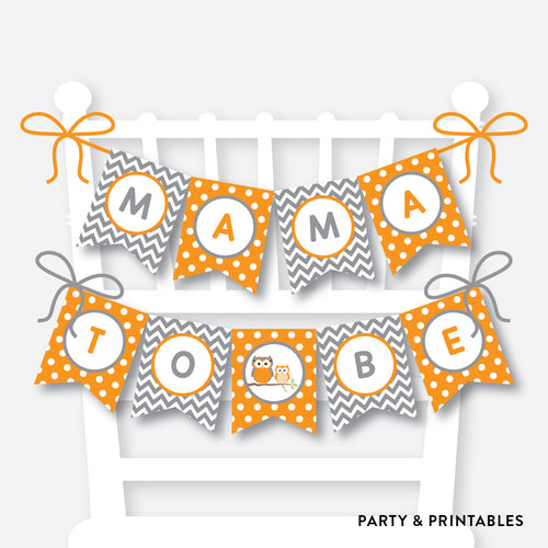 Orange Owl Chair Banner / Baby Shower Banner / Non-Personalized / Instant Download (SBS.47)