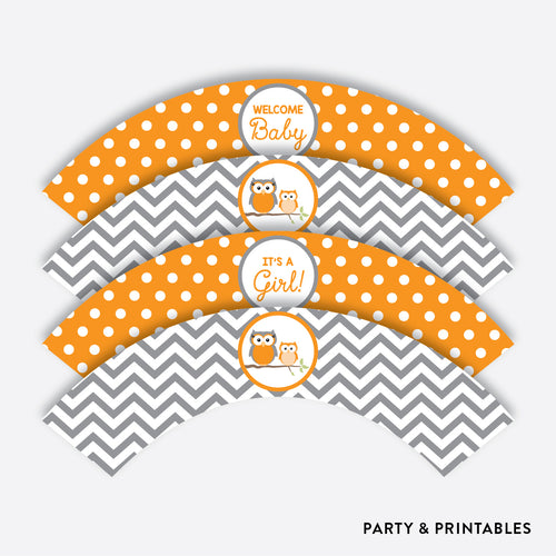 Owl Cupcake Wrappers / Non-Personalized / Instant Download (SBS.47)