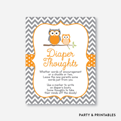 Owl Diaper Thoughts / Non-Personalized / Instant Download (SBS.47)