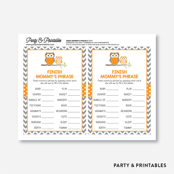 Owl Finish Mommy's Phrase / Non-Personalized / Instant Download (SBS 47)