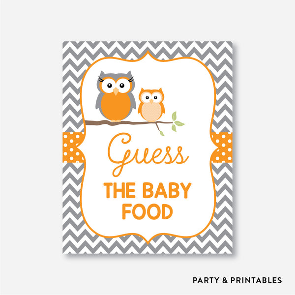 Owl Guess The Baby Food / Non-Personalized / Instant Download (SBS.47)
