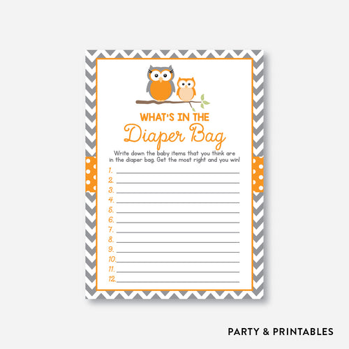 Owl Guess What's In Diaper Bag / Non-Personalized / Instant Download (SBS.47)